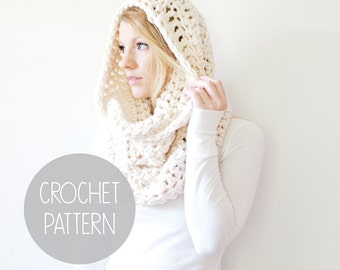 crochet pattern - oversized hood scarf crochet pattern - the Cherokee