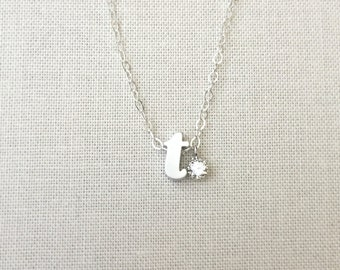Initial Necklace | Cz Initial Necklace | Silver Letter Necklace |Personalize Jewelry | Bridesmaids Gift | Lowercase Initial Necklace