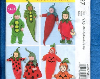McCalls 6627 Fresh Picked Baby Veggie Costumes Size Babies NB to XL UNCUT