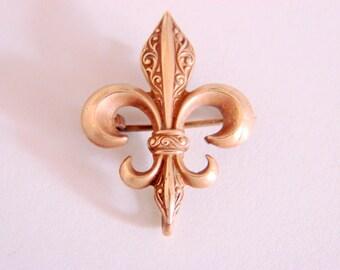 Antique Edwardian Engraved Gold Fleur De Lis Watch Pin Brooch Chatelaine  3.4 Grams Jewelry Jewellery