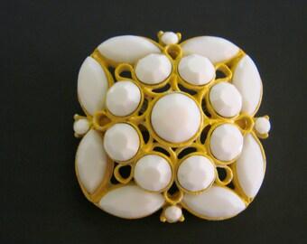 1960s 1970s Vintage Faceted Milk Glass Rhinestone Brooch Retro Jewelry Jewellery