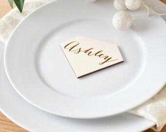 Diamond place cards,  wedding table decor, place card names