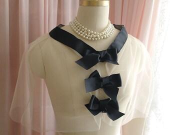 COCO Victorian Black Bow Cream Ivory Tulle Cape Capelet Romantic  Lace Sheer  Poncho Shawl Top Darling bolero shrug Wedding Bridal