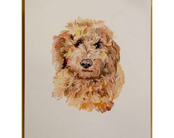 Ready to ship, Original dog painting on paper golden doodle watercolor