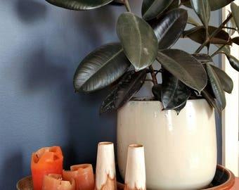 Vintage drip glazed pair of vases, studio pottery vase, single bud vase