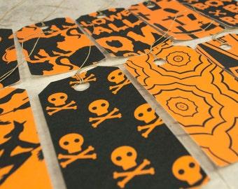 Halloween set 12 gift tags, dozen pre strung hang tags, labels black orange
