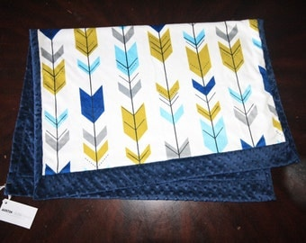 Arrow Baby Blanket, Arrow Baby Bedding, Baby Boy MINKY Blanket, Minky Baby Blanket, Navy Blue Baby Blanket, Ready to Ship Baby Boy Blanket