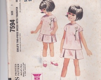 1960's Sewing Pattern - McCalls 7594 Girls Two piece Dress and Transfer Size 5 Factory Folded and unused