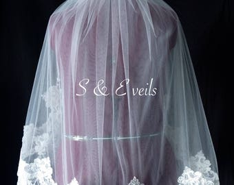 2-Tier LACE Wedding Veil //embellishments for any veil, chapel champagne, ivory and white colors, embroidery for veils, edge with lace