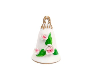 Vintage Pink Rose Bell Applied Roses Bisque Stone Clapper Hand Painted Ornament Housewarming Wedding Gift Vanity Decor