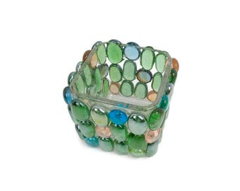 Vintage Mosaic Art Candle Holder Square Votive Glass Cabochons Gemstone Tea Light Beach House Décor Rose Bowl Vase