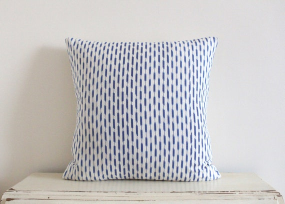 "RESERVED FOR KRISTIN - Dash Ikat pillow cushion cover 20"" x 20"" in denim blue"