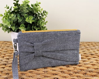 Gathered Bow Wristlet Clutch - Navy Essex Linen, Mustard Zipper - Date Night, Evening Wedding Accessories, Gifts under 30