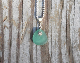 Genuine Beach Sea Glass Sterling Silver Pendant - Teal