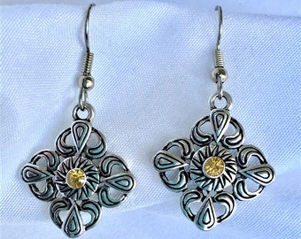 Abstract Tribal Floral Earrings with Topaz Yellow Center Stones
