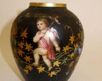 Antique Victorian hand painted flower and cherub bisque vase
