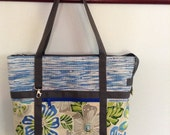 Hand Woven Plarn - Yarn of Recycled, Upcycled, Reused Plastic Bags - Zippered Tote, Beach Bag, Market Bag, Diaper Bag in Blue, White, Gray