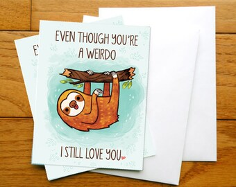 small Sloth card, Anniversary card, valentines day card, Greeting cards