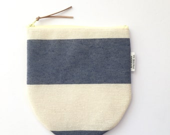 Gifts Under 15 - Blue and White Stripe Zipper Bag