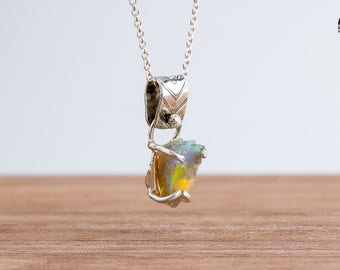 Fiery Multicolored Rough Ethiopian Opal Gemstone Necklace in Sterling Silver - Natural Raw Rough Uncut Opal necklace - Gift for Her