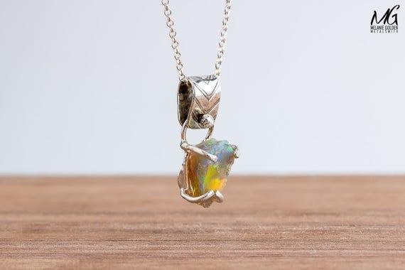 Fiery Multicolored Rough Ethiopian Opal Gemstone Necklace in Sterling Silver
