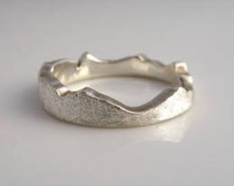 Custom Mountain Stacker Ring, Mountain Ring, Recycled Silver recycled Gold Stacking Ring, Mountain Band, Mountain Wedding Ring
