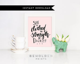 Printable, Gifts for Her, For her, She is Clothed, Proverbs 31, Christian Gifts, Christian Printable, Scripture Printable, Bible Verse