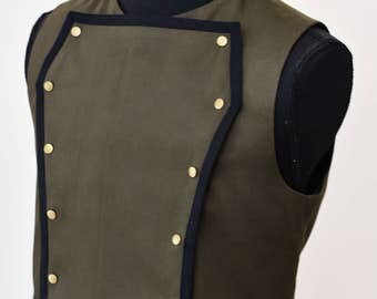 SALE!, Mens Steampunk Victorian Vest - Black Pirate Costume Burning Man Festival Hipster Waist Coat Vest- Made to order