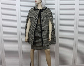 Vintage Handmacher Houndstooth Wool Cape 1950s Size Medium/Large