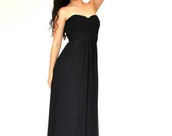 20% OFF SALE 80's Black Evening Dress, Strapless Dress, Long Black Dress, Evening Gown