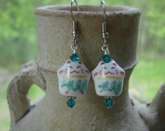 Maneki-Neko (Lucky Cat) Porcelain Charm Earrings, Cat Jewelry, Asian Inspired Jewelry, Blue Zircon