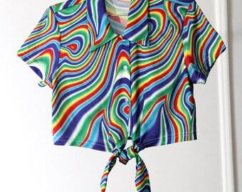Rainbow Swirl Psychedelic Print 90s Crop Top
