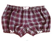 ONLY IN SMALL Lolita Bloomers maroon flannel plaid with white bows shorts cotton underwear lingerie drawers pajamas nightwear sleepwear cute