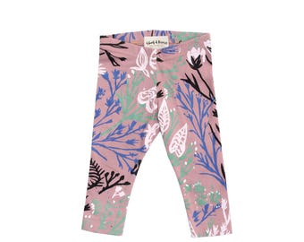 Wandering Floral Leggings on Dusty Rose - Printed Leggings - Organic - Kid's Leggings - Baby Gift - Eco - Slow Fashion - Thief&Bandit®