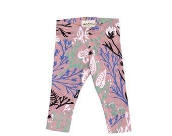 Wandering Floral Leggings on Dusty Rose - Printed Leggings - Organic - Kid's Leggings - Baby Gift - Eco - Slow Fashion - Thief&Bandit®