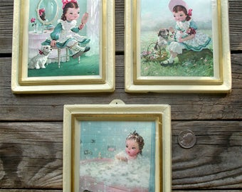 Trio of Vintage Little Girl Pictures - Young Lady Dimestore Prints Formed Plastic Frames - 1960s Pink Blue Femininity - Girly Girl Portraits
