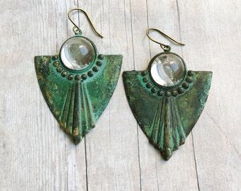 Art Deco Earrings Patina Jewelry Greenery Trends