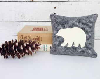 Bear Decor, Polar Bear, Balsam Pillow, Rustic Home Decor, Cabin Pillows, Small Pillow, Woodland Bear, Natural Home Decor, 6x6 Pillow