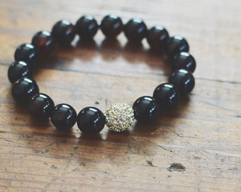 Black Agate Stretch Gemstone Bracelet // Gold Pave Bead // Stacking Bracelets