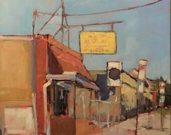 ORIGINAL Oil Painting-Plein Air-Urban Landscape-American Cityscape-Affordable art-Impressionist-Philadelphia street-Interior decor-Wall art