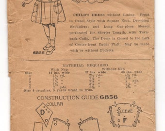 1900's Pictorial Review Girl's One-Piece Dress pattern - Size 4T - No. 6856
