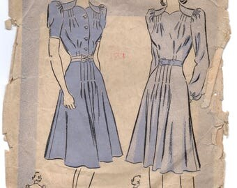"""1940's Advance One Piece Dress with Button up front and Puff sleeves pattern - Bust 34"""" - No. 2521"""