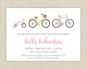 Bicycle Baby Shower Invitation. Baby Shower Invitation. Baby shower invitation girl.
