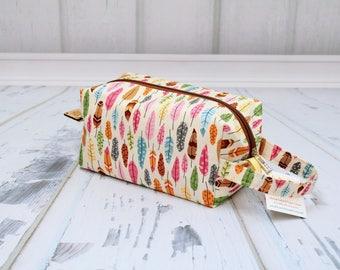 Pretty feathers fabric Small boxy bag, Knitting Boxy Project Bag,Knitting Project Bag. Sock Knitting bag. Crochet bag,zippered box bag