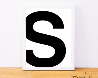 Letter S, Typography Print, Letter Print, Printable Monogram, Printable Art, Minimal Decor, Black and White Wall Art, Digital Download