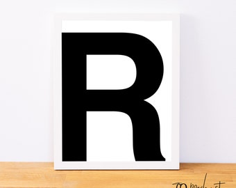 Letter R, Typography Print, Letter Print, Printable Monogram, Printable Art, Minimal Decor, Black and White Wall Art, Digital Download