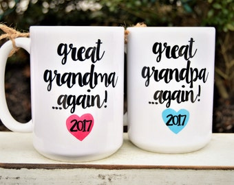 New  GREAT GRANDMA or GRANDPA Again Mugs, Est. Year & Hearts, Cute Pregnancy Announcement or New Grandparent Gift