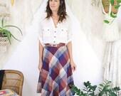 60s Plaid Skirt, Boho Vintage Wool Midi Skirt, Medium Large 3736