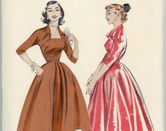 Vintage Butterick Pattern 6707 - ca. 1953 - Full Skirted Dress Size 14 Bust 32