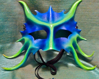 Leather Dragonet Mask, Blue and Green Fantasy Halfmask, Horned Young Water Dragon Costume Piece,  Faery Creature Eyemask (M198)